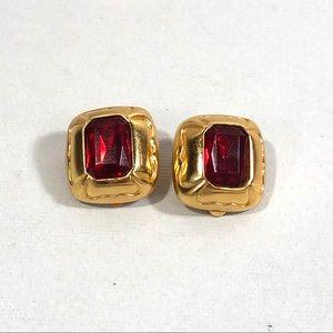 Ruby Gemstone Clip On Earrings